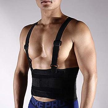 Grtodnz Lumbar Support Belt with Suspenders for Men - Adjustable & Light - Back Brace Shoulder Holsters - Lower Back Pain Work Lifting Sport Black,XXL