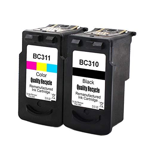 再生インク Canon(キャノン)用BC-310+BC-311(ブラック+カラー)2個セット 染料 残量表示付 【対応機種】PIXUS - (MP493, MP490, MP480, MP280, MP270, MX420, MX350, iP2700)