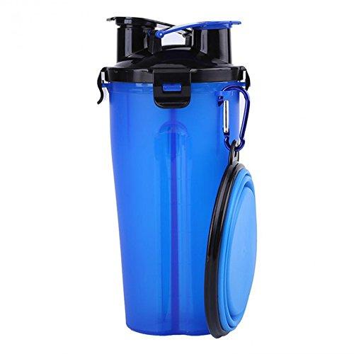 Redcolourful Draagbare dubbele lens, polypropeen, voor honden, water, kop, voor het bewaren van levensmiddelen, reizen, schotels, containers in de open lucht, levensmiddelen, plat voor huisdieren, Blue + folding bowl