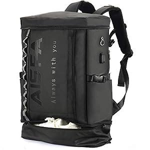 AISFAリュック メンズ リュックサック スクエア バックパック 防水15.6インチ PC ビジネス ラップトップバック USB充電ポート付き 30L アウトドア旅行 通勤 靴/弁当収納