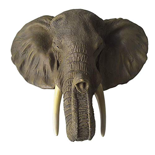 MAMINGBO Escultura de Pared de Estatua Decorativa de Elefante - Cabeza de Animal Resina Colgante de Pared decoración de Pared Vintage Cabeza de Elefante hogar Cabeza artesanía Regalo