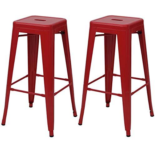 Set 2X sgabelli bistrot Design Industriale HWC-A73 Metallo Verniciato Rosso