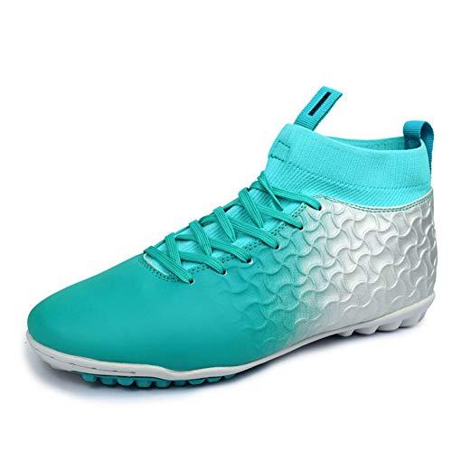 KANGLE Botas de fútbol para Hombre Botas Altas Zapatillas de fútbol para Interiores Calzas con Listones de Hierba Botas de Zapato Futsal Profesional Crampon Hombre Zapatillas,Azul,42