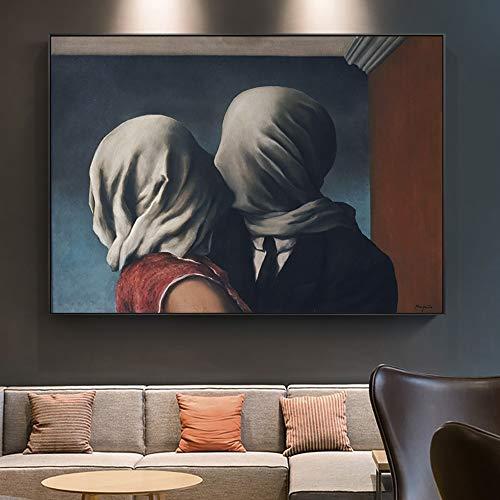 5d Fai da Te Pittura Diamante Kit 5D Diamante d'Arte,Rene Magritte Surrealismo Opere d'Arte The Lover Dipinti su Tela sul Muro Poster e Stampe Immagine per la Decorazione del Soggiorno