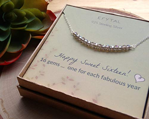 EFYTAL 16th Birthday Gifts for Girls, Sterling Silver Sweet 16 Necklace for 16 Year Old Girl, Jewelry Gift Idea
