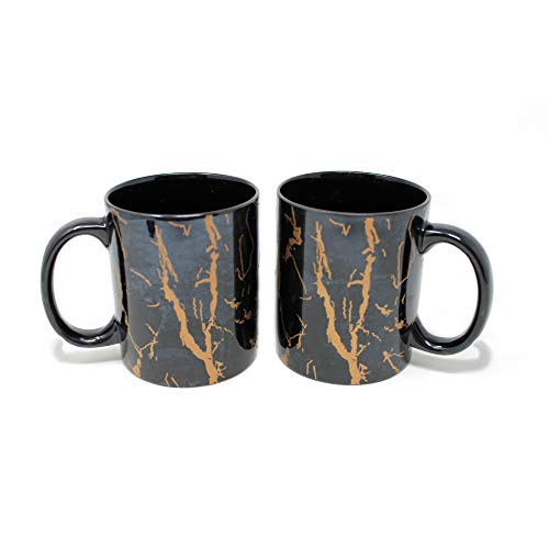 The Earth Store Black Copper Pipe Handcrafted Microwave Safe Ceramic Milk / Coffee / Tea Mug with Handle Ideal Best Gift to Friends, Anniversary, Valentine Day, Birthday (Set of 2, BlackCopper)