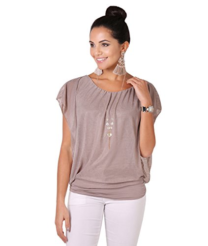 6093-MOC-XLXXL: Merhlagiges Tunika Shirt Weite Ärmel Halskette Kurzärmelig (Mokka, Gr.XL/XXL)
