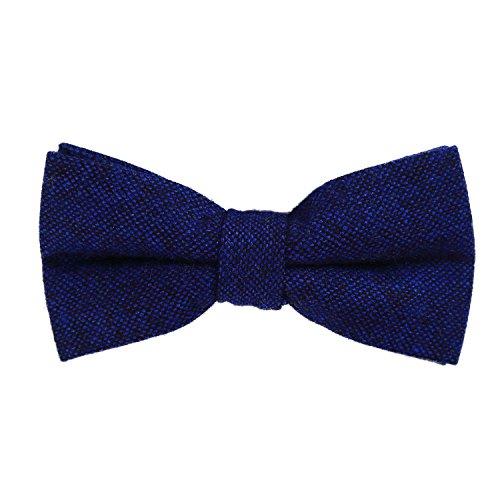 DonDon Herren Fliege 12 x 6 cm Baumwolle gebunden und längenverstellbar blau