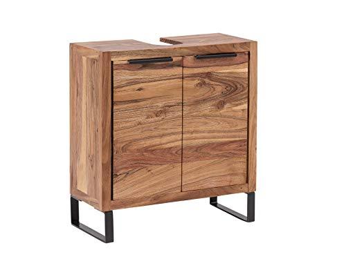 Woodkings® Waschbeckenunterschrank Sydney massiv Holz schmal Waschtischunterschrank Badmöbel Badezimmer klein Badschrank Bad Unterschrank Massivholz mit Fuß auch hängend möglich (Akazie hell)
