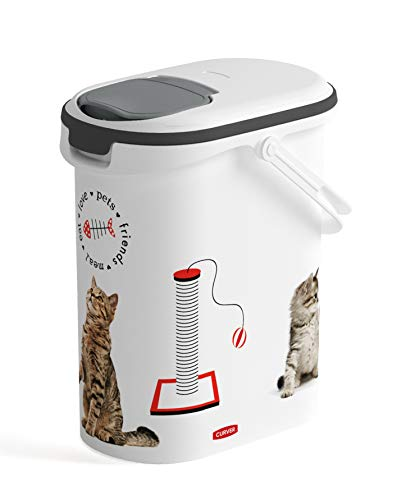 CURVER Conteneur à Croquettes Pour Chat - 4kg / 10L - Rangement Hermétique Anti-Odeurs pour Nourriture pour Chats - Conteneur avec poignée de Transport - 19 x 30 x 35 cm - Blanc