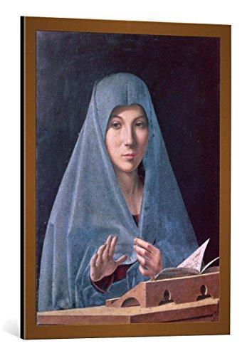 Kunst für Alle Cuadro con Marco: Antonello da Messina Virgin Annunciate - Impresión artística Decorativa con Marco, 60x80 cm, Cobre Cepillado