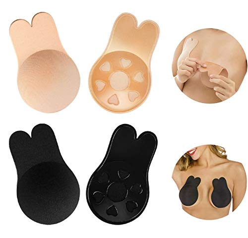 IYY 2 Pairs Lift Up Adhesive Bra,Sticky Bra Backless Strapless Bra Reusable Invisible Bra Breast Lift Tape Nipple Covers for Women (Medium-Large, Beige&Black)