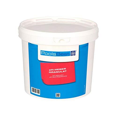 POOLSBEST® 5 kg pH Heber Granulat für Pools - wirksames Granulat inklusive Messbecher - pH Plus zur optimalen pH-Wert Stabilisierung