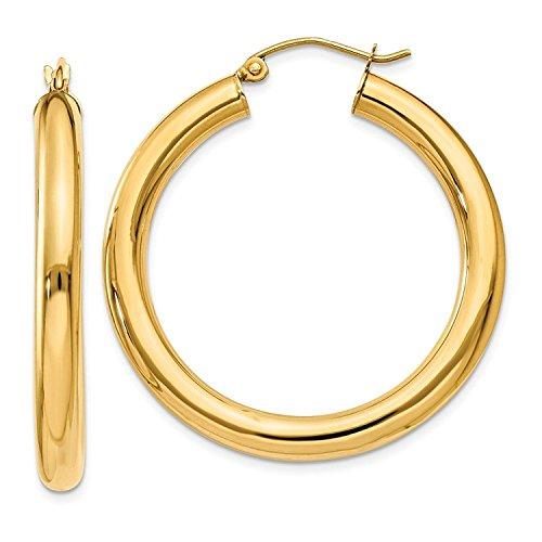 14 Karat 585 Gold Hochglanz Creolen Ohrringe Gelbgold (32 Millimeter)