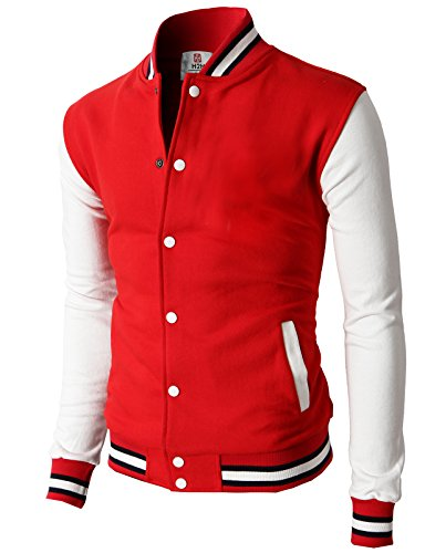 H2H Mens Slim Fit Varsity Baseball Bomber Cotton Lightweight Premium Jacket Cmoja082-red Large