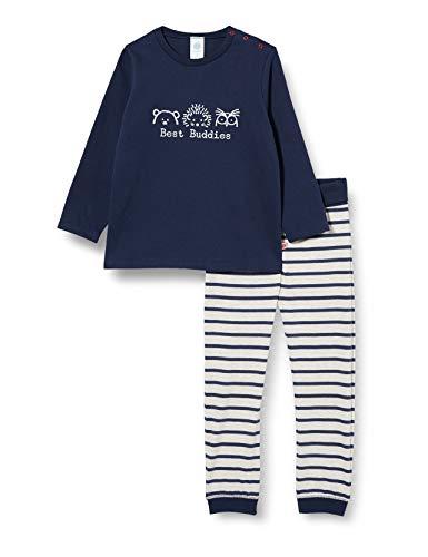 Sanetta Baby-Jungen Schlafanzug Nordic Blue Cooler dunkelblauer Pyjama Bio Baumwolle und mit einem einfallsreichen Artwork, blau, 104