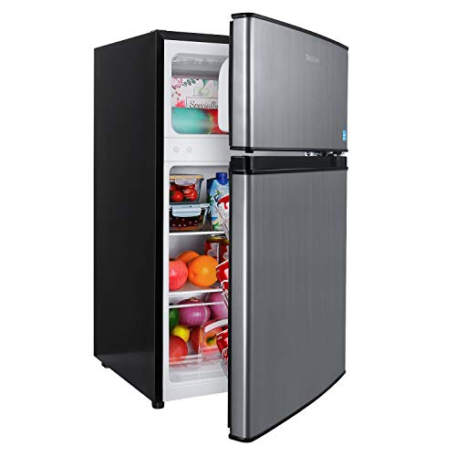 Compact refrigerator, TACKLIFE 2 Door Mini Fridge with Freezer, 3.1 Cu.Ft, Stainless Steel, With LED Light, Ideal Small Refrigerator for Bedroom, Office, Dorm, RV -HPVFR310