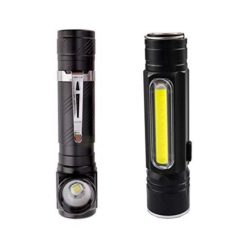 YSQSPWS Linterna Frontal Led Camping Fardar antorcha LED Faro de Zoom Zoom Flashlight Policía Linterna al Aire Libre Faro de Pesca + Batería incorporada de 18650 (Emitting Color : A Packing A Style)