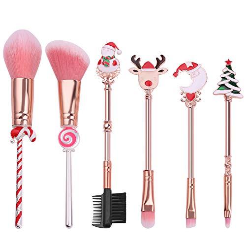 Juego de 6 brochas de maquillaje de Navidad con mango de dibujos animados en polvo, sombra de ojos, regalo de Navidad para amigo