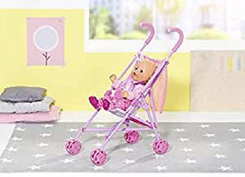 Zapf Creation 826485 BABY born Stroller mit Tasche, zusammenklappbarer Puppenbuggy mit Gurtsystem und praktischem Netz, Puppenzubehör