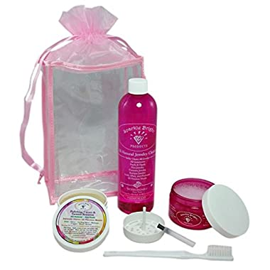Sparkle Bright All-Natural Jewelry Cleaner - DELUXE JEWELRY CLEANING KIT - Ultrasonics, Gold, Silver, Diamonds, Fine, Costume, Designer Jewelry