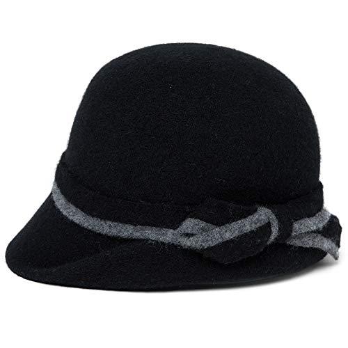 Comhats Wolle 1920s Retro Kirche Hüte für Damen Filzhut Klassisch Bowler Hut Fedorahüte Schwarz