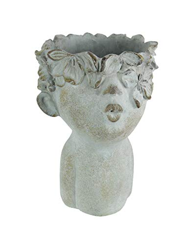Pucker Up Kissing Face Weathered Finish Concrete Head Planter 10 Inches High