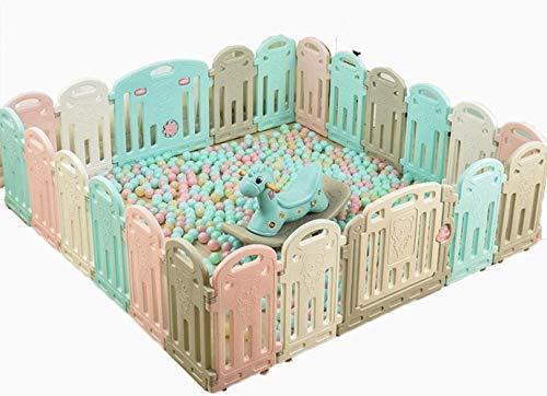 GCX Solide Huo Kinder Laufstall Baby Guardrail Haushalt Sicherheit Zaun Baby Indoor Krabbelmatte Kleinkind Neuer Stift Praktisch, Umweltfreundliches HDPE., 16 panels - 165x132cm