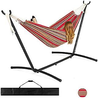 comprar comparacion KL2 - Hamaca de algodón con estructura de metal, color rojo