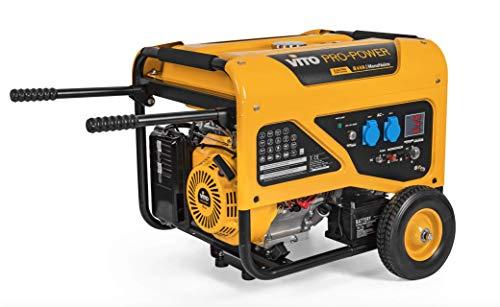 VITO Pro Power Benzin AVR Stromerzeuger 230V - 8kVA 15PS 6500W E-Starter 29.5A Profi 4 Takt Motor Generator Notstromaggregat