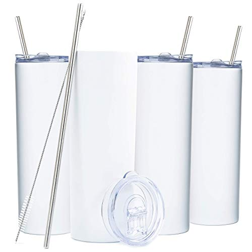 SKINNY TUMBLERS (4 pack) 20oz Stainless Steel Double Wall Insulated Tumblers with Lids and Straws   Skinny Travel Mug, Straw Cleaner INCLUDED! Reusable Cup With Straw   Vinyl DIY Gifts (Matte White)