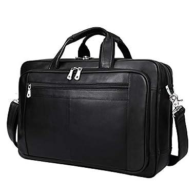 Augus Mens Leather Briefcase Messenger Bag Waterproof...