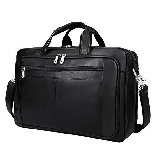 Augus Mens Leather Briefcase Messenger Bag Waterproof Travel Business Duffle Bags for Men 17 Inch Laptop Bag YKK Zipper Black