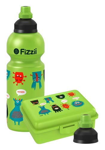 Fizzii Set Trinkflasche 600ml + Lunchbox inkl. Obst-/ Gemüsefach (schadstofffrei, spülmaschinenfest, Motiv: Monster)