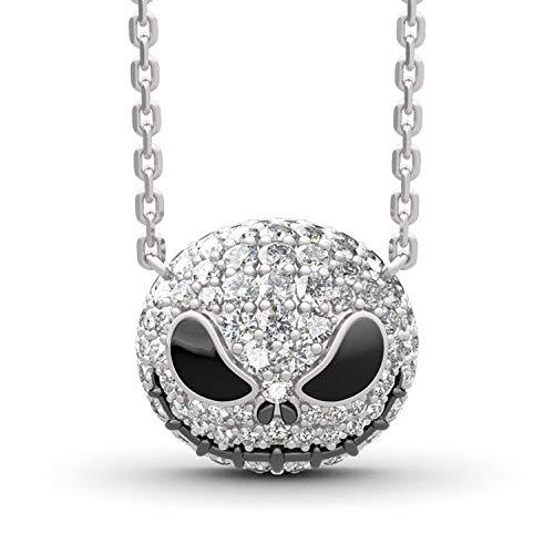 QAZXCV Nightmare Antes de Navidad Skull Nombre Collar Chokers Mujer Cadena Punk Crystal Joyería Calabaza Jack Esmalte Collar