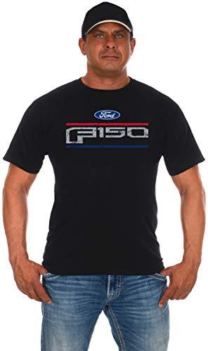 JH DESIGN GROUP Men's Ford F150 Distressed Logo Crew Neck T-Shirt (Large, Black)