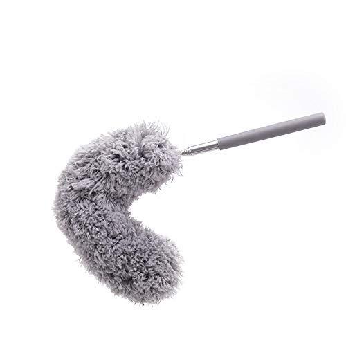 Ciujoy Dehnbarer Staubwedel Duster mit Edelstahl Teleskop Stange, Mikrofasern Staubwischer Staubbesen mit Verbiegbare Eckbesen, Entfernt Mühelos Staub und Spinnweben, Extra lang (Grau) (40-89CM)