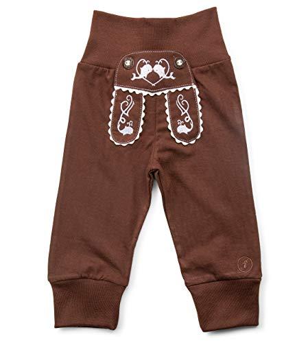 Schöneberger Trachten Couture Baby Stoffhose im Lederhosen Design – Babyhose mit elastischem Bund – Pumphose Kinderhose Bockkitz (74/80, Dunkelbraun)