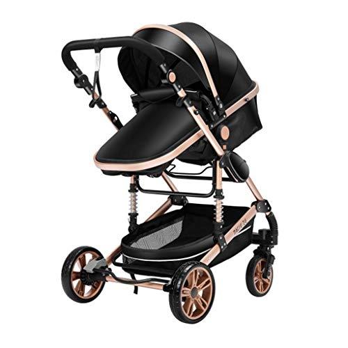 JIAX Cochecito de bebé para recién nacido, 3 en 1 de alto paisaje, silla de paseo plegable negro con respaldo ajustable, asiento variable y reclinable, ventilador/mochila (color: negro, tamaño: D)