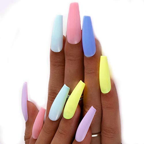 Outyua 100Pcs Extra Long Fake Nails Coffin Glossy Watercolor Colored Rainbow Press on Nail Acrylic Ballerina Artificial False Nails Arts for Women and Grils (Colored)