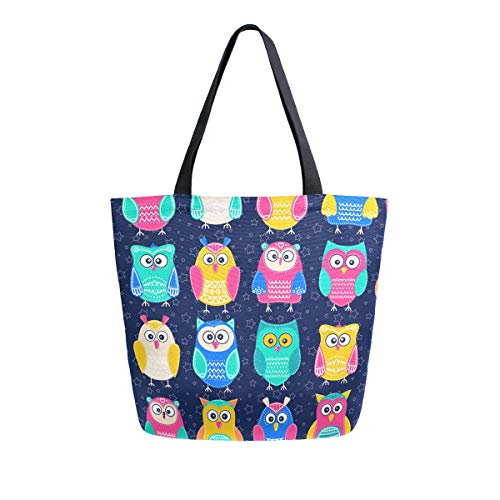 Naanle Animal Owl Canvas Tote Bag Large Women Casual Shoulder Bag Handbag, Colorful Owl Reusable Multipurpose Heavy Duty Shopping Grocery Cotton Bag for Outdoors.