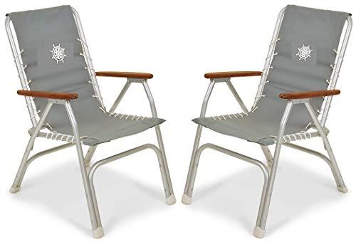 FORMA MARINE Boat Chairs High Back Grey Deck Folding Marine Aluminum Teak Furniture Set of 2 M150G