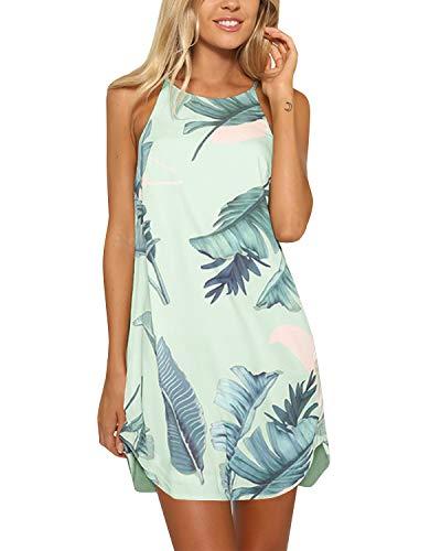 YOINS Strandkleider Damen Sommer Casual Sommerkleid Damen Kurz Strand Schulterfrei Elegant Kleider Ärmellos Minikleider A-hellgrün S