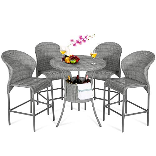Best Choice Products 5-Piece Outdoor Wicker Bar Table Bistro Set Dining Furniture for Patio, Backyard w/Built-in Ice Bucket, 4 Chairs - Gray