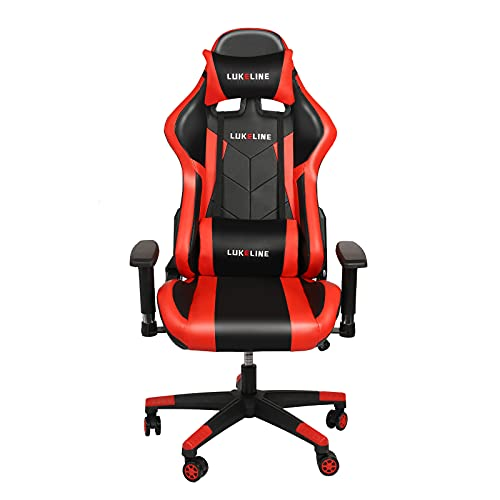 Lukeline Gaming Chair with Headrest and Lumbar Pillow can Adjust The Height of The Racing-Style Leisure Gaming Swivel Chair, Ergonomic for Adults Pu Leather High-Back Gaming Chair, Red