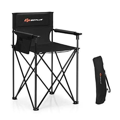 Goplus Folding Camping Chair, Outdoor Portable Beach Chair Heightened Design w/Detachable Armrests, Storage Pouches & Carrying Bag for Fishing, Picnic, Lawn (Black, 250LBS Weight Capacity)