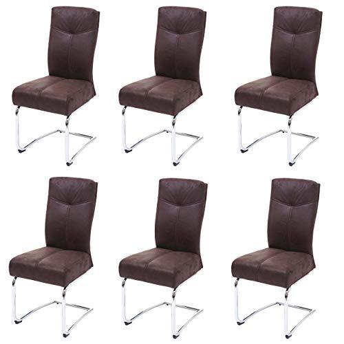 Mendler 6X Esszimmerstuhl HWC-G56, Küchenstuhl Freischwinger Stuhl, Textil Wildleder-Optik - braun