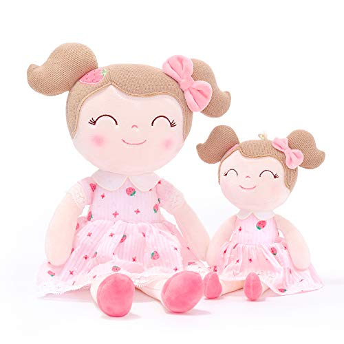 Gloveleya Baby Doll Baby Girl Gifts Rag Doll Soft Doll Strawberry Girls Gift Boxes - Pink [One Big & One Small]