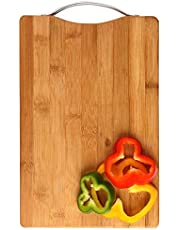 JB KIARA TEXTILES Thick Wooden Bamboo Kitchen Chopping Cutting Slicing Board with Holder for Fruits Vegetables Meat