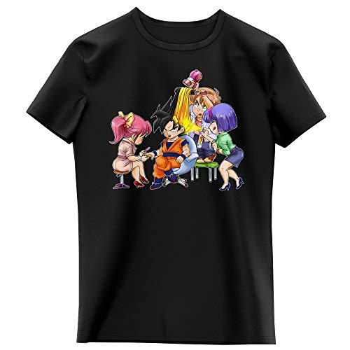 T-shirt Enfant Fille Noir parodie Dragon Ball Z - DBZ - Sangoku se transformant en Super Guerrier - Séance de maquillage ! (T-shirt enfant de qualité premium de taille 7-8 ans - imprimé en France)